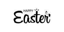 Happy Easter Text Illustration. Horizontal Greeting Banner With Bunny. Vector