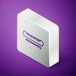 Isometric line Kayak and paddle icon isolated on purple background. Kayak and canoe for fishing and tourism. Outdoor activities. Silver square button. Vector Illustration