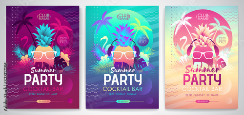 Valokuva Set of Colorful summer disco party posters with fluorescent tropic leaves, pineapple and flamingo