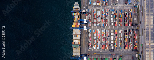 Cuadros en Lienzo Container ship loading and unloading in deep sea port, Aerial view of business logistic import and export freight transportation by container ship in open sea, Container loading Cargo freight ship