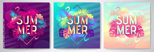 Set of Colorful summer party posters with fluorescent tropic leaves and flamingo Canvas Print