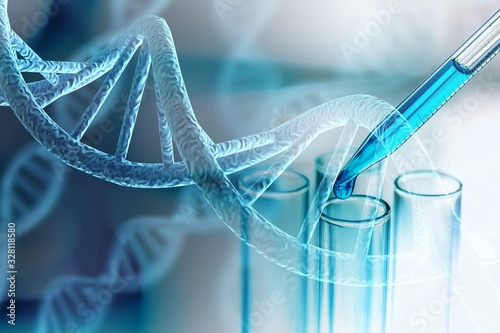 Fototapeta Science laboratory test tubes and DNA structure