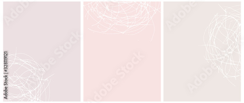 Fototapeta Set o 3 Abstract Geometric Layouts. White Irregular Hand Drawn Scribbles on Beige, Blush Pink and Light Pink Backgrounds. Funny Simple Creative Design. Infantile Style Geometric Design. obraz na płótnie