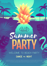 Colorful Summer Disco Party Poster With Fluorescent Tropic Leaves, Pineapple And Flamingo. Summertime Beach Background