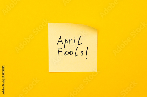 april fools day reminder on yellow sticky note Wallpaper Mural