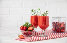 Two Glasses Of Fresh Strawberr...