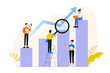 Business concept. Office people working together on the columns. Business graph analysis. Team metaphor. Lifting up. Analyzing of the evolutionary scale. Career making. Vector illustration.