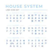Set Color Line Icons Of House ...