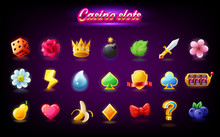 Colorful Slots Icon Set For Ca...