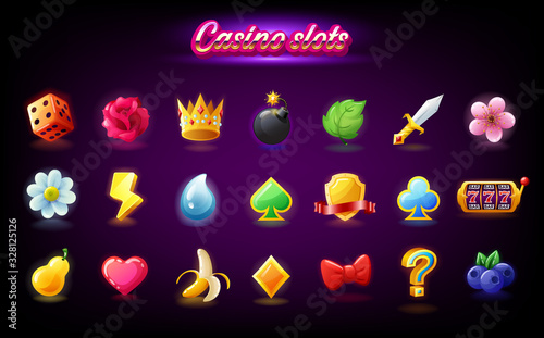 Fotografía Colorful slots icon set for casino slot machine, gambling games, icons for mobil