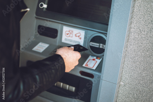 Photo ATM cash withdrawal