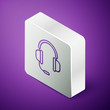 Isometric line Headphones with microphone icon isolated on purple background. Silver square button. Vector Illustration