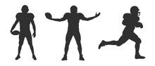 Vector Silhouette Of American Football Players On White Background.