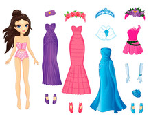 Cute Paper Doll With Evening Fabulous Dresses