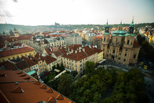 Elevated View Of Townscape With St. Nicholas Church, Prague, Czech Republic