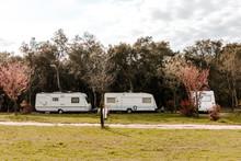 Caravans Parked In A Campsite