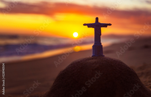 Cristo Redentor On Famous Ipanema Beach At Sunset Rio De Janeiro Canvas Print