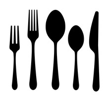 Vector Cutlery Set. Fork, Knife. Flat Style.