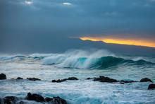 Big Blue Wave Crashing On Rock...