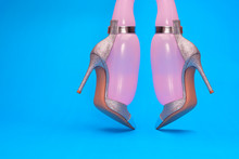Close Up Of Pink Inflated Balloons In Stilettos