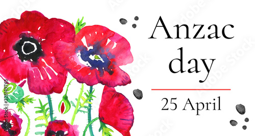 Photo Anzac day horizontal banner template with growing poppies and title