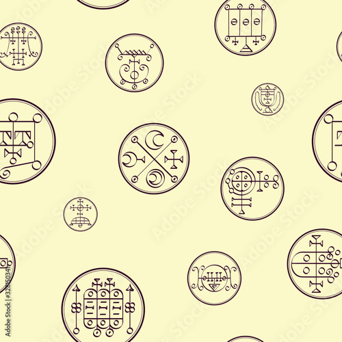 Seamless vector pattern with symbols of demons Fototapete