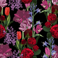 Fototapeta Do jadalni Seamless pattern. Beautiful fabric blooming realistic isolated flowers. Vintage red violet background. Amaryllis lilies, roses, lilac, wildflowers. Wallpaper baroque.