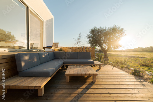 Fototapeta Modern villa with pool and deck obraz