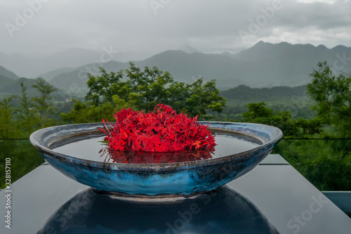 Beautiful vase of red flowers with the mountains of the Hellfire Pass in the bac Tablou Canvas