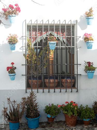 white facade of typical Andalusian house with bars and flower pots Canvas Print