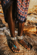 Close Up Of Maasai Shoes Made From Old Tyres