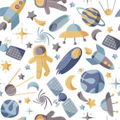 Cute space seamless pattern. Colorful kids background.