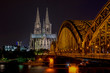 Magnificent view of Cologne Cathedral during night, Cologne Germany