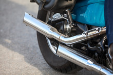 Two Direct Exhaust Pipes On Chopper Motorcycle, Chrome Loud Sound Silencer