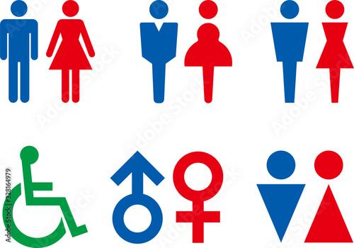 Obraz トイレの男女のアイコン集 - fototapety do salonu