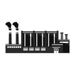 Industrial factory black silhouette icon.Chimney plant building facade.Flat style a vector.