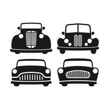 Retro Car Black Isolated Vector Illustration Set. Old, Vintage Style Automobile.
