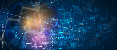 Fotografía Technology data background, idea of global business solution