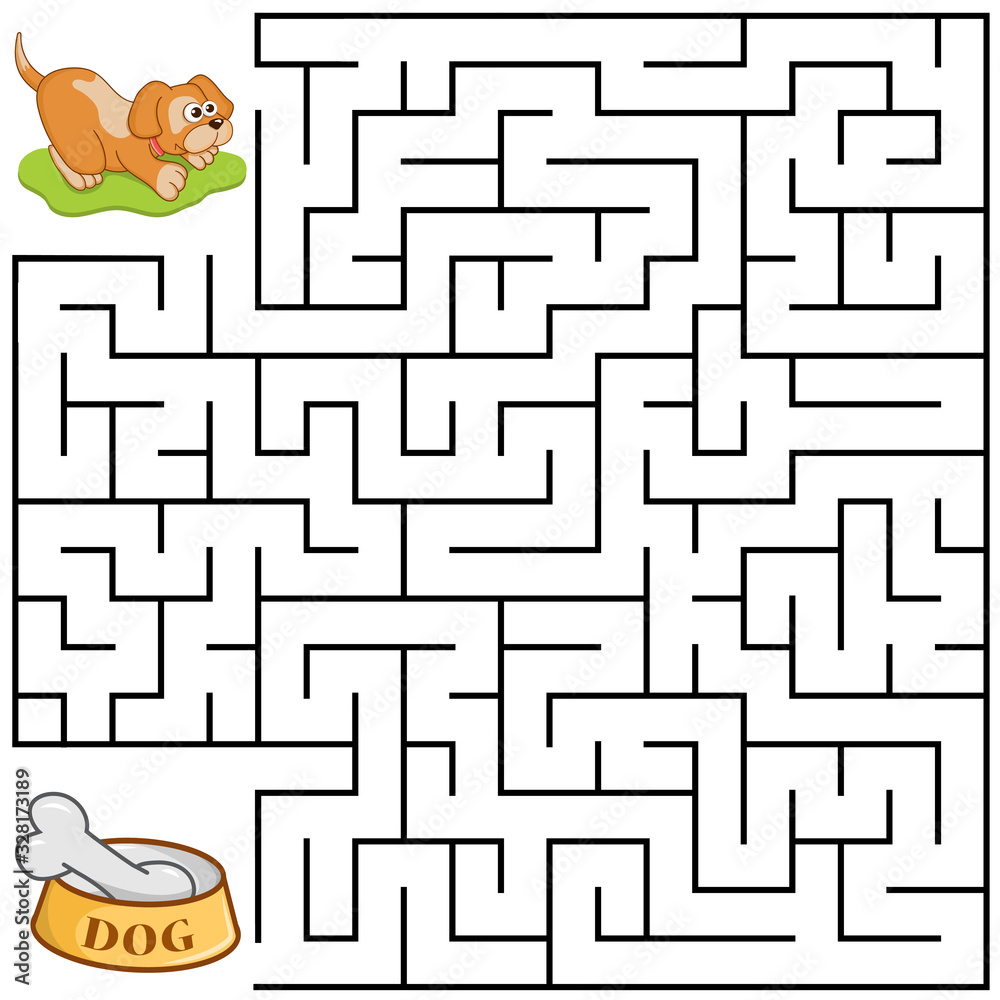 Fototapeta Square maze for kids with cartoon Dog. Find right way to the Bone. Entry and exit. Puzzle Game with answer. Learning Labyrinth conundrum. Education worksheet. Activity page. Logic Games for kids.