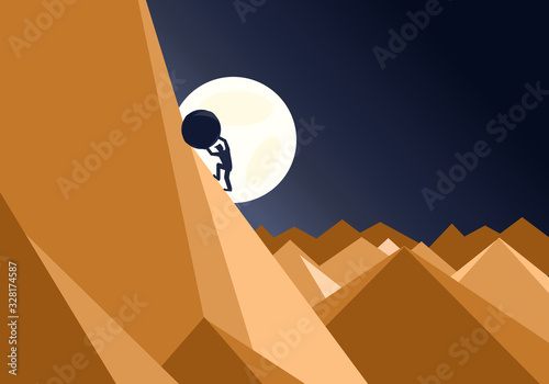 Fotografía Sisyphus concept of a man pushing a huge rock up a mountain in an impossible tas