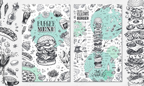 Burger menu. Vintage template with hand drawn sketches of hamburger and infographic with fast food ingredients. Engraving style vector icons - pizza, tacos, barbecue, beverages and sweets