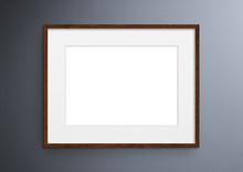 Empty Frame. Blank Dark Wood Mounted Landscape Frame On Grey Wall