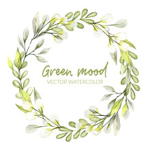 Watercolor Greenery Wreath, Pu...