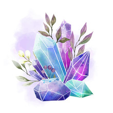 Watercolor Gems, Crystals And ...