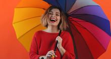 Rainbow Umbrella. Portrait Of ...