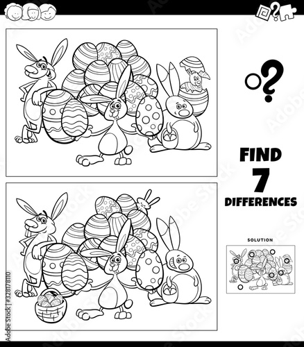 Fotografija differences coloring task with cartoon Easter characters