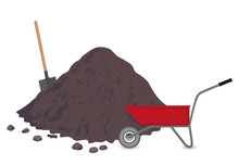 Heap Of Soil, Next To A Standing Wheelbarrow. Shovel In The Ground. Garden Tools. Isolated Shovel In A Pile Of Soil.