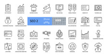 SEO Vector Icons. A Collection Of 29 Editable Strokes. Website Promotion In Search Engines, Analytics System, Checking For Technical Errors, Copywriting And Blogging, Tracking Goals And Conversions.