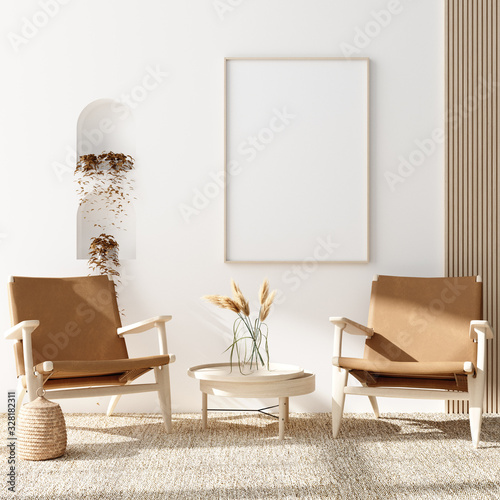 obraz dibond Mock up poster in warm Scandinavian style living room interior with wooden decor, 3d render