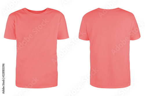 Fototapeta Men's coral blank T-shirt template,from two sides, natural shape on invisible mannequin, for your design mockup for print, isolated on white background.. obraz